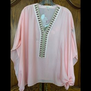 Peach tunic w embroidery one size